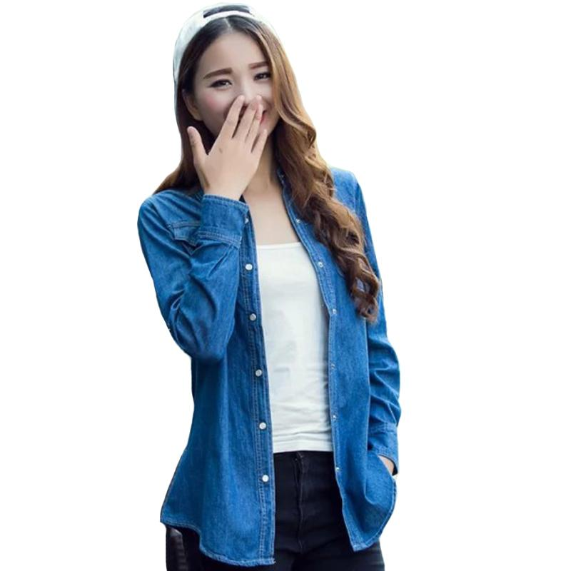 Spring Autumn Denim Jacket For Women Plus Size 3XL Casual Long Sleeve Jeans  Solid Blue Ladies Coats Jackets Female T569 Blue Jacket Womens Leather  Jacket ... f7468cd49c