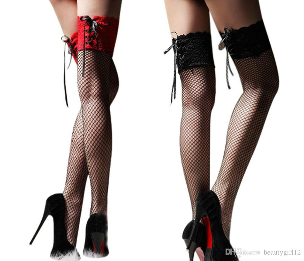 Women's Sexy Fishnet Stocking Thigh High Sheer Lace Top Sexy Stockings Hosiery Nets Stay Up For Women Female Stockings Red Black