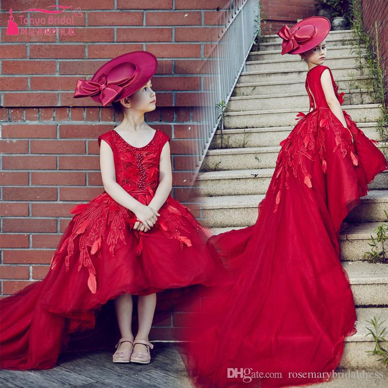 3cf83bdabeefd Red Flower Girl Dresses Luxury High Low Long Tail Princess Pageant Gowns  Jewel Lace Ball Gown Birthday Wear