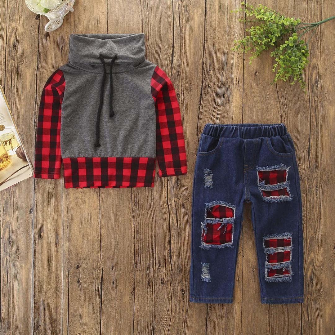 d546111c4 2019 Toddler Kids Baby Boy Clothes Cotton Plaid Tops T Shirt Denim ...
