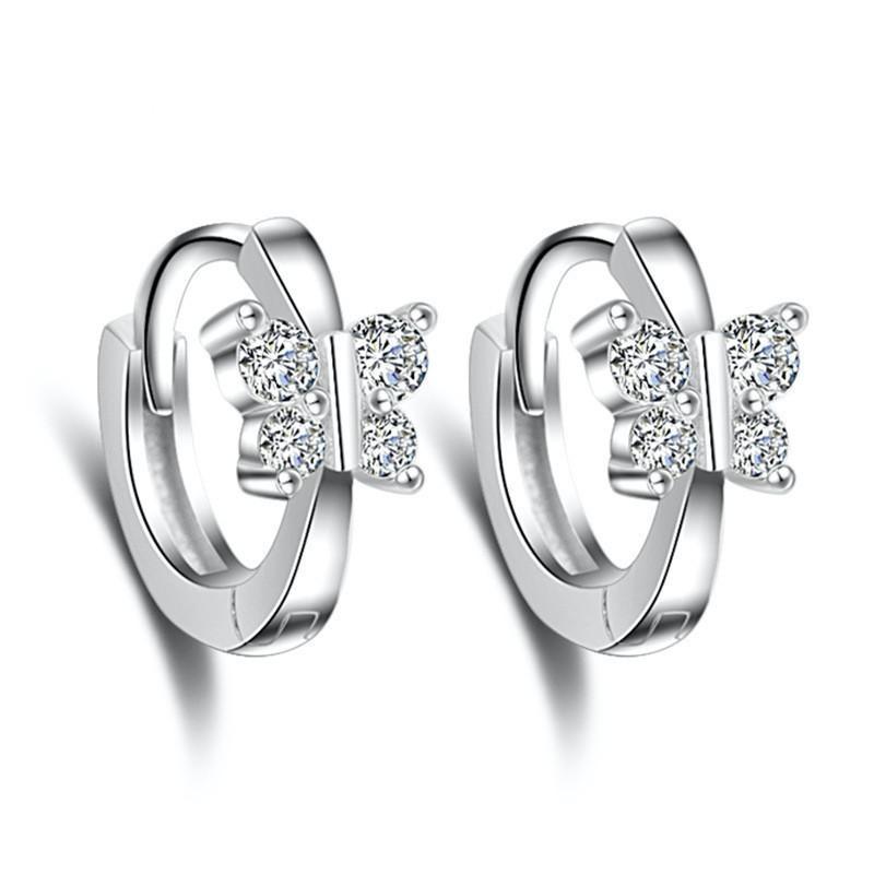 02083ef79b Clear Rhinestone Cubic Zirconia Butterfly Hoop Earrings For Women Ear Cuff  Vintage Fashion Jewelry Accessories WHEF87