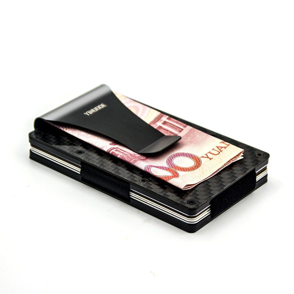 Углеродного волокна кредитной карты держатель, 2018 Новый потянув ремни версия RFID блокировки анти сканирования металлический бумажник деньги наличными клип