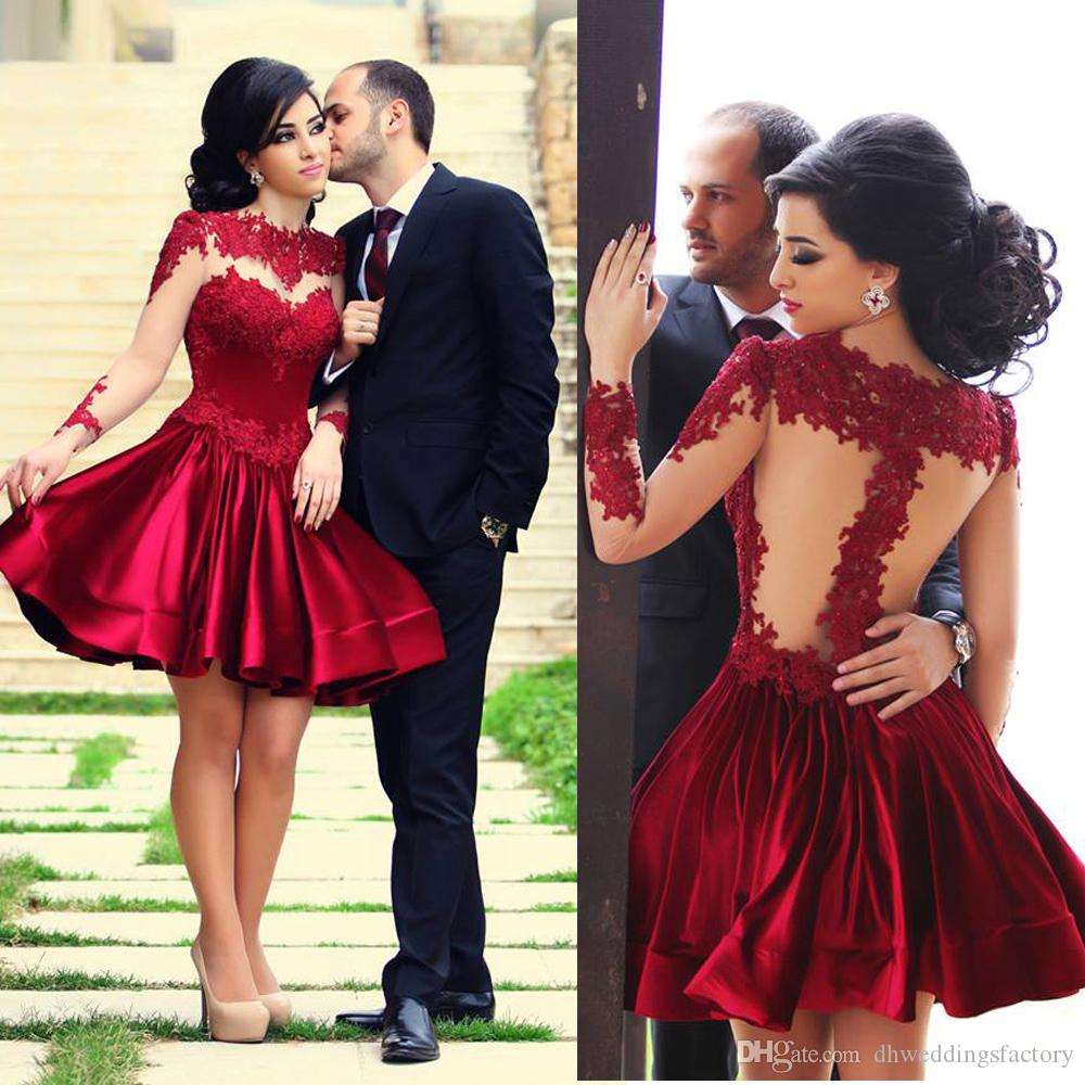 e8387df1f0e Cocktail Dresses A Line Burgundy Short Long Sleeves Illusion Mini Party Dresses  Lace Appliques Homecoming Dresses Cocktail Attire Elegant Dresses From ...