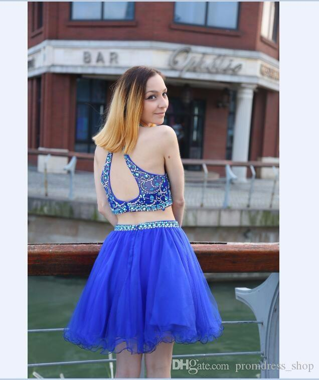 Short Homecoming Dresses Jewel Crystal Beaded Two Pieces Sexy Sleeveless Royal Blue Tulle A-line Cheap Cocktail Dresses Party