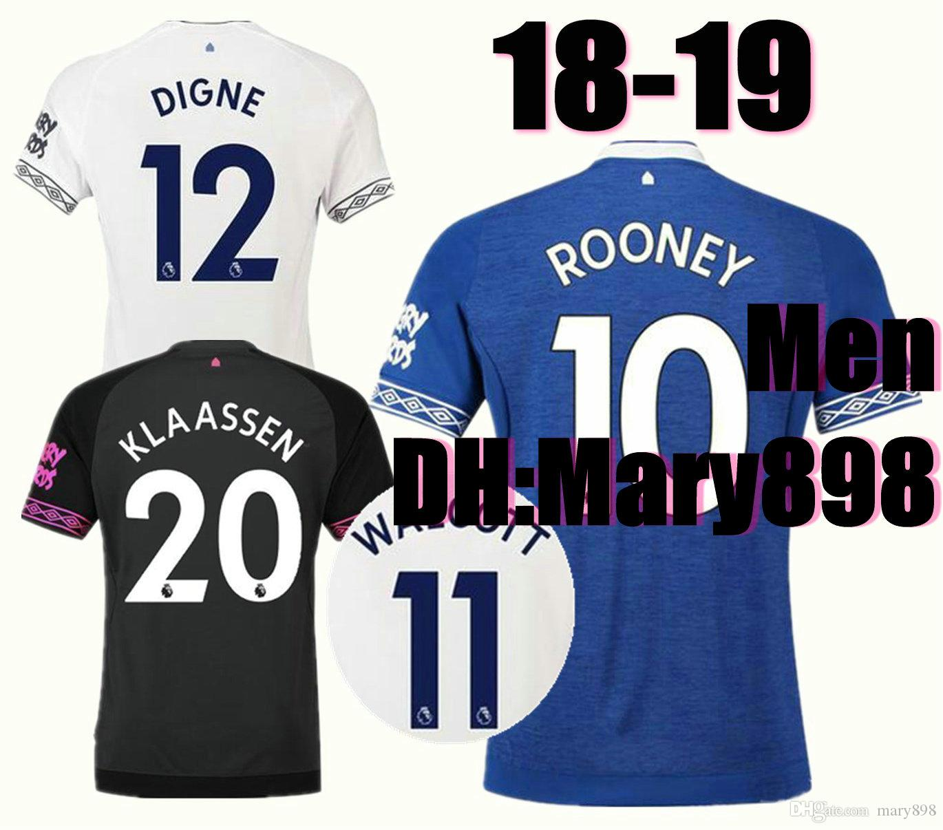 a91734fd03c Top Thai Quality 2018 2019 Everton Home Soccer Jerseys ROONEY 18 19 ...