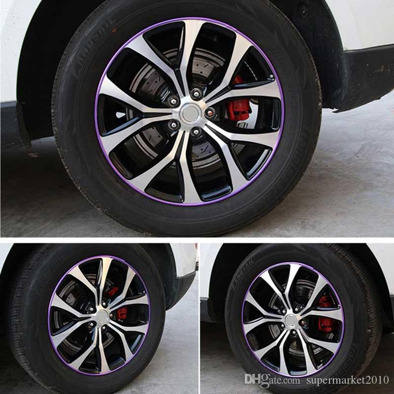 8Meter / Roll Wheel Cerchi auto Protezione Sticker Mozzo Pneumatico auto Decorativo Styling Strip Wheel Rim Pneumatico Bordo Adesivo Copertine Accessori Auto