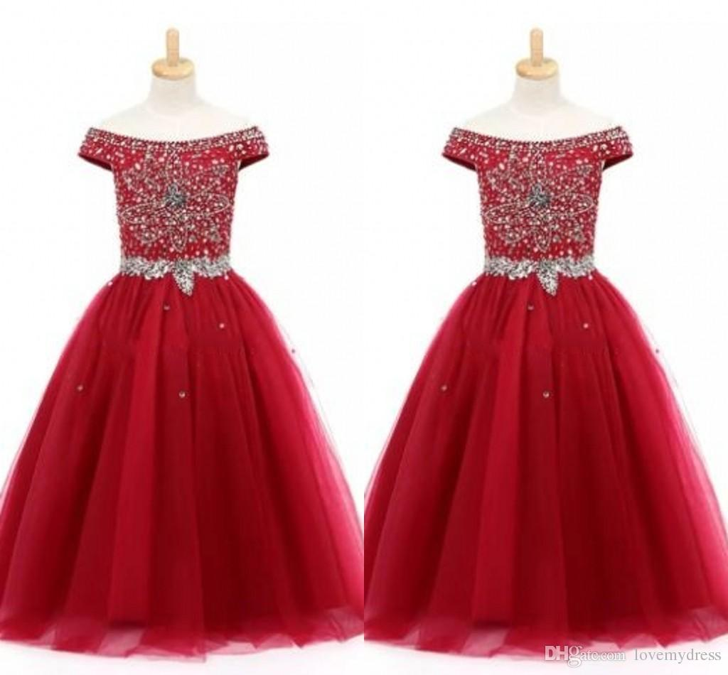 Off The Shoulder Girls Pageant Dresses Hand-working Beading Crystal Sequins Wine Red Party Dress Toddler Flower Girl Dresses Kids Teens