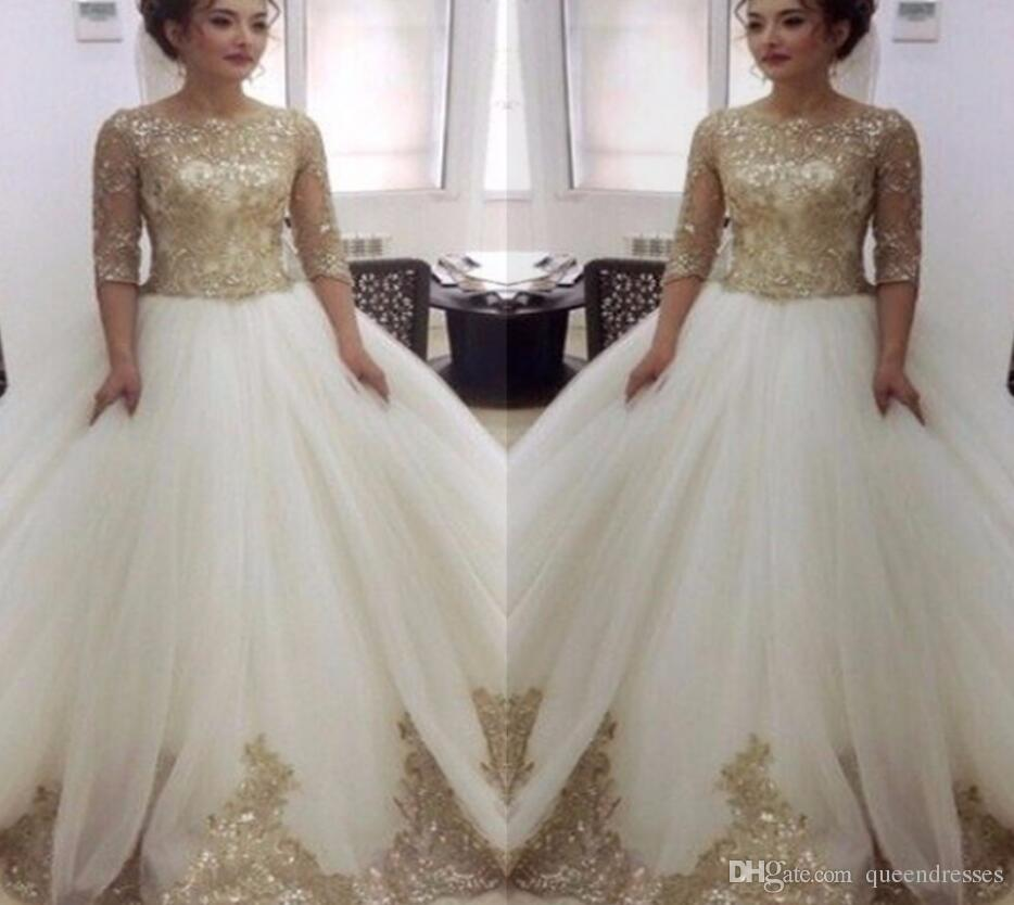 Fashion White Ball Gown Wedding Dresses Gold Lace Long Sleeve A Line ...