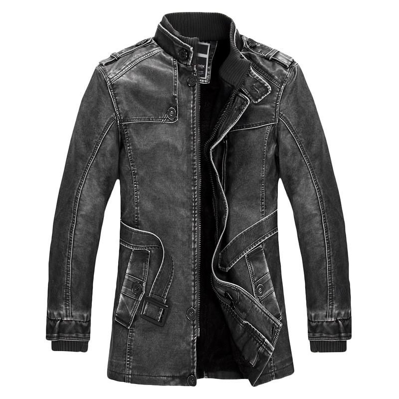 2017 Winter New Mens Long-sleeved Leather Jackets Fashion Business Comfortable Casual Leather men Coat Hot Selling Size S M-4XL