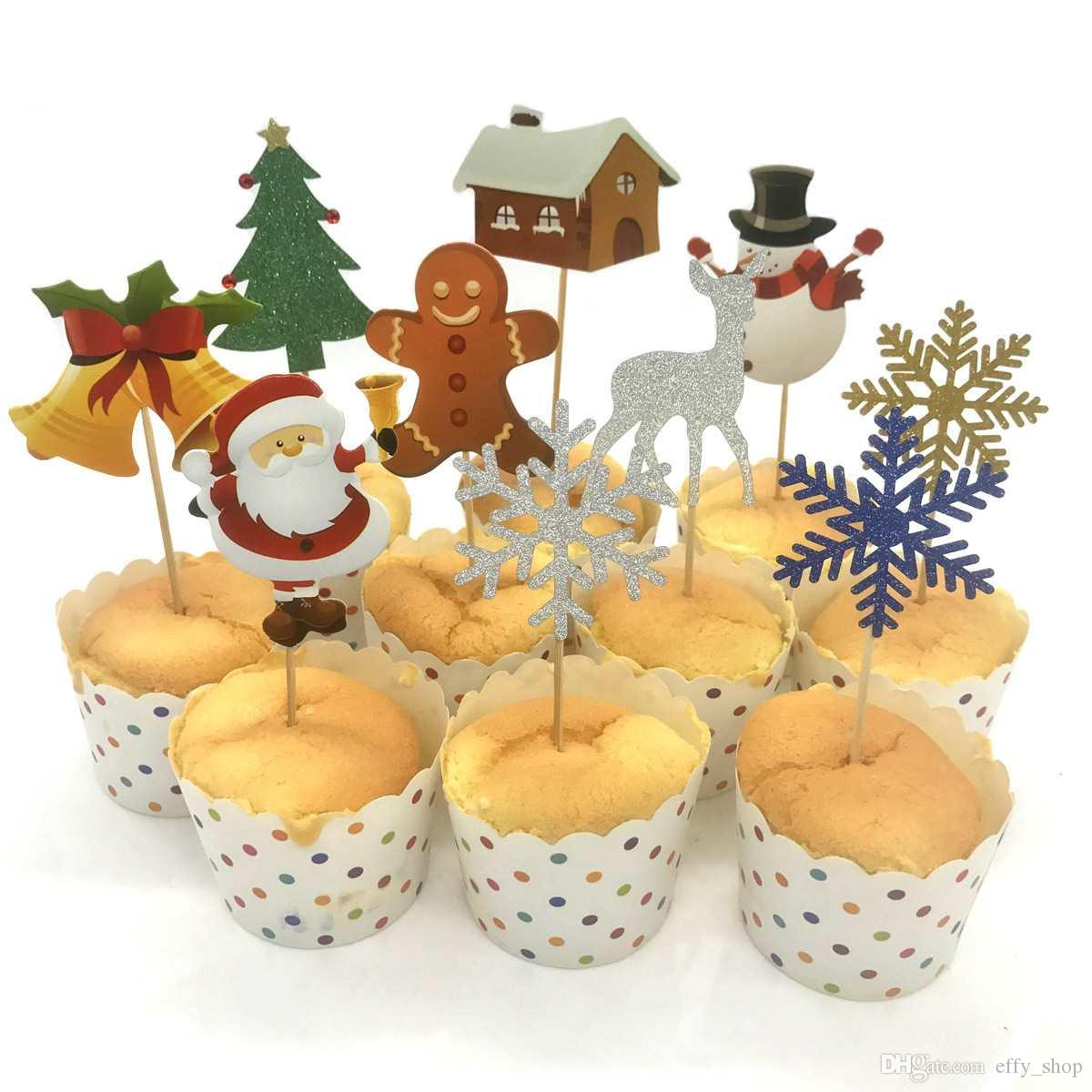 10pcs Set Cake Topper Cupcake Decoration Santa Claus Christmas Tree Elk Gift Box Card Christmas Cake Top Flag Tag