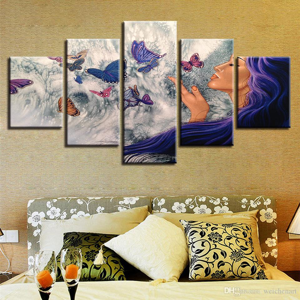 Modular Pictures Canvas Art Woman And Butterfly HD Prints Poster Frame Decor Modern Living Room Wall Abstract Paintings