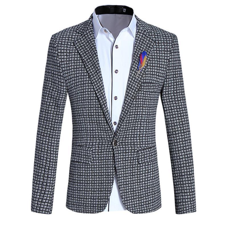 Nuevo 2018 Marca Casual Chaqueta Blazer A Cuadros Hombres Broche de Flor Traje de Tendencia Coreana Vestido de Novia Masculino Slim Fit Chaqueta de Abrigo Blanco Hombre