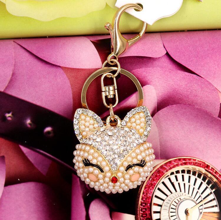 es zorro artificial llavero para el bolso llavero del coche lindo cristal zorro llavero colgante de perlas llaveros llavero zorro llaveros de cristal