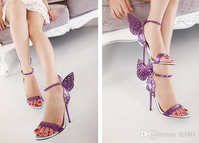 Kadınlar elbise Sivri Burun Kanat 3D Kelebek Nakış Yüksek Topuk Ayak bileği Kayış KİT'ler D'orsay Metalik Stiletto Sandalet Ayakkabı