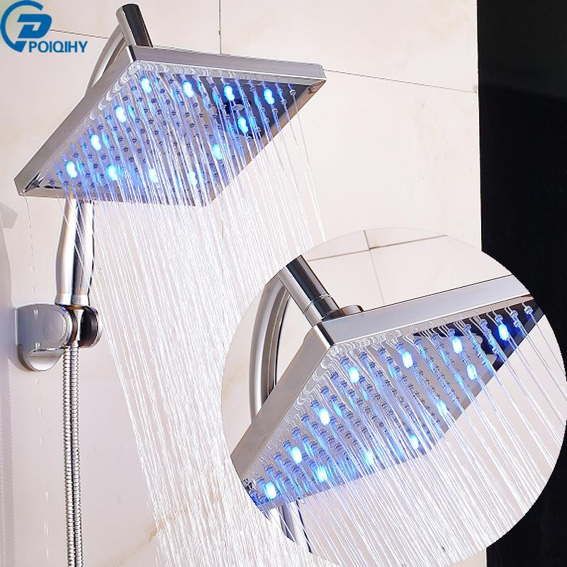 2018 Poiqihy 8\'\' Led Abs Shower Head Shower Pipe Top Over Rainfall ...