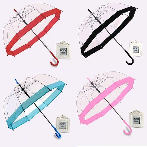 37bb0e664c10 Creative Long Handle Clear Transparent Umbrella Semi-automatic Umbrella  Women Outdoor Rainny Sunny protection Outdoor Parasol paraguas