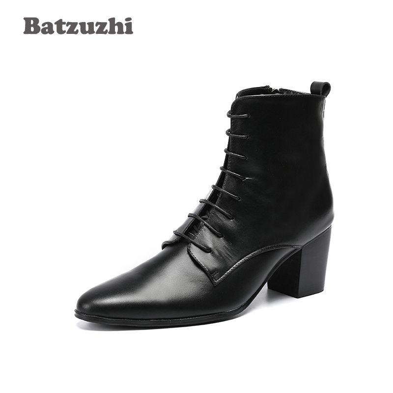 abaaa86d1 Compre Batzuzhi 6.8 Cm Botas De Salto Alto Homens De Couro Genuíno Dos  Homens Ankle Boots Pontas Do Dedo Do Pé Lace Up Bota Masculina Vestido  Homens!