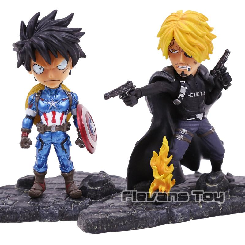 One Piece Cosplay Les Avengers Luffy Cos Capitaine Amérique Sanji Cos Fury SD Ver Action Figure Modèle Jouets