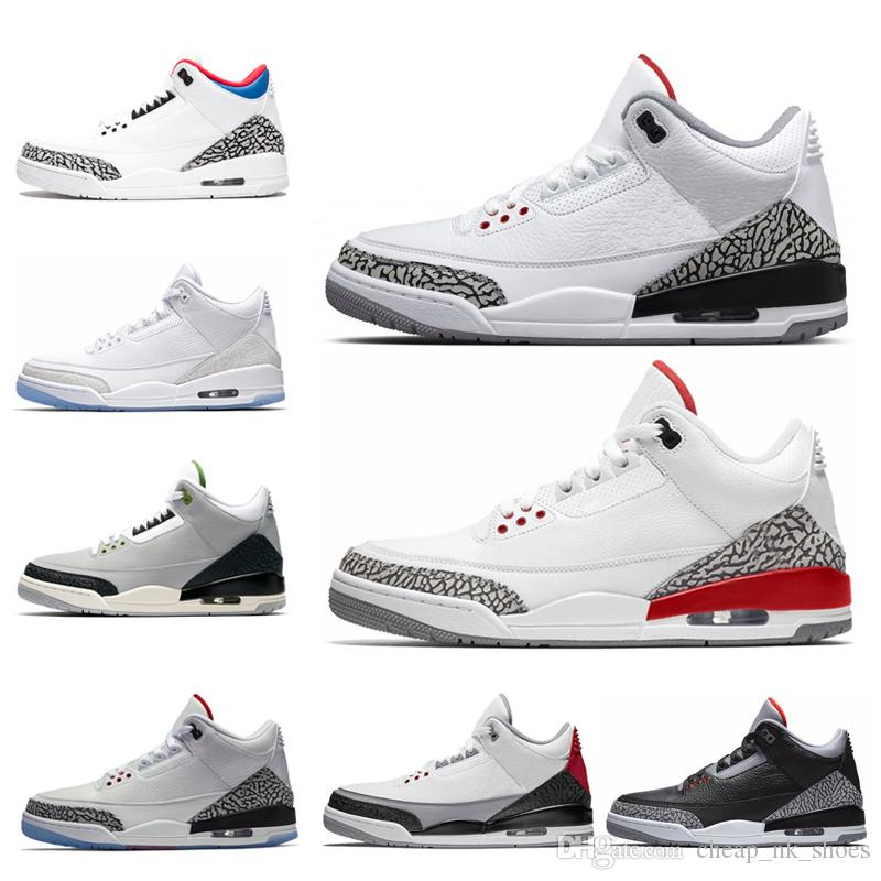 cheap for discount 6c2d5 cccc6 Großhandel Air Jordan Retro 3 2018 Pure White Männer Basketballschuhe  International Flug USA QS Katrina Tinker JTH Freiwurf Linie Weiß Schwarz  Cement Sport ...