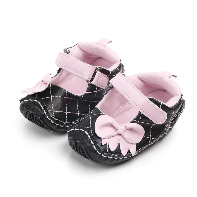 2fc2b66f4decd Fashion Princess Mary Jane Baby Girls Shoes Pu Leather Bowknot Plaid Soft  Rubber Sole No-slip First Walker Prewalkers