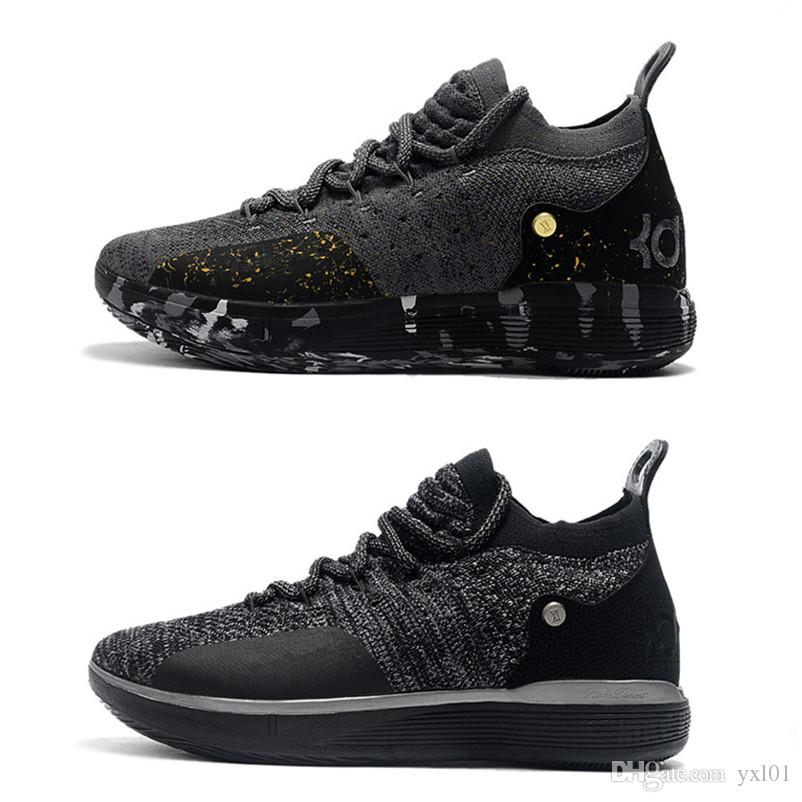 3246b28c320285 2018 New Kevin Durant 11 XI Twilight Black Gold Splatter Basketball Shoes  For High Quality KD11 Men Trainers KD 11s Sports Sneakers Size7 12 Kids  Basketball ...