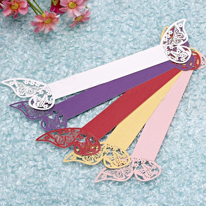 50 adet / grup Ücretsiz Kargo Lazer Kesim Peçete Halkası Kağıt Düğün Süslemeleri Güzel Kelebek tasarım Havlu Toka için Parti Masa Dekorasyon