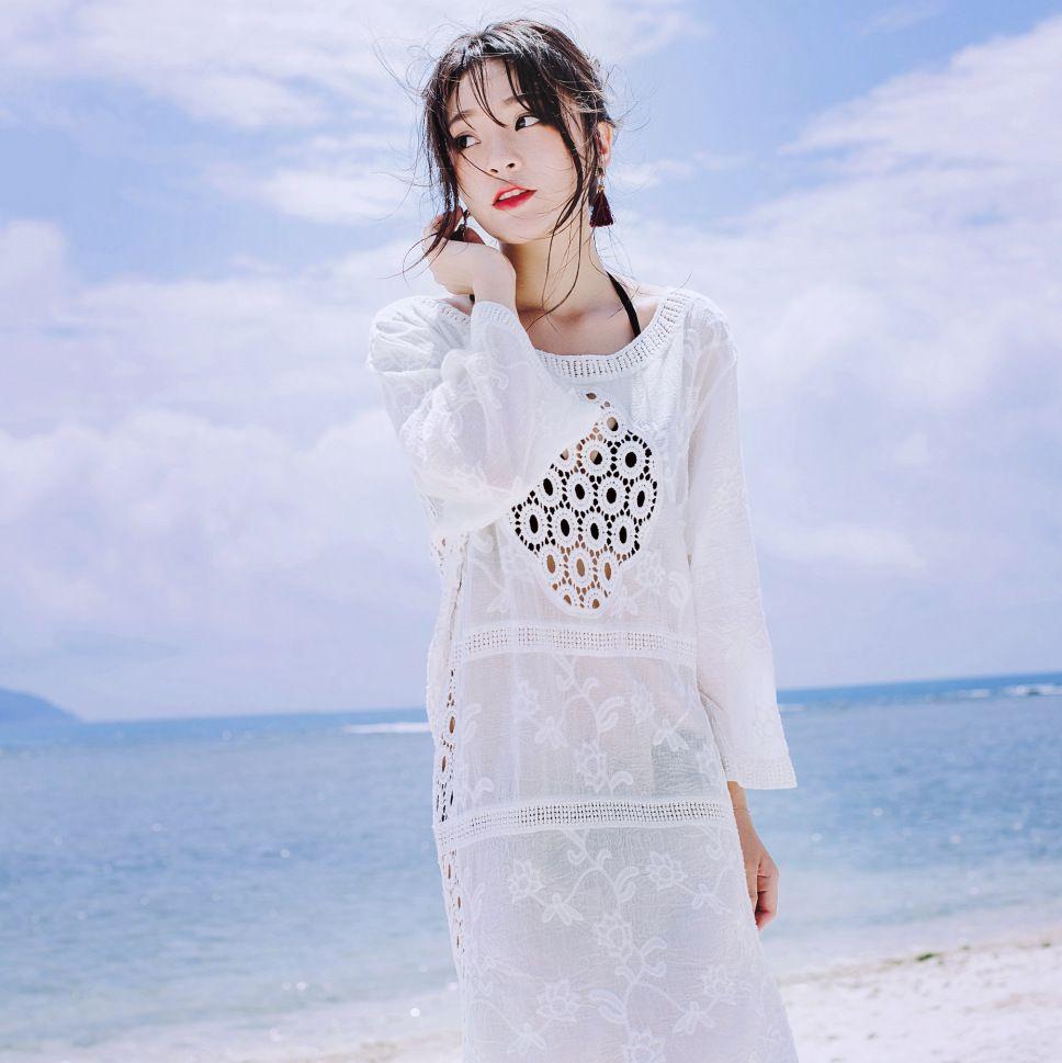 dda62acebd 2019 Women Beach Bikinis Cover Ups Lace Embroidery Long Dress Swimwear  Loose Blouse Summer Sunscreen Swimsuit Shirt Crochet Hollow Sexy Beachwear  From ...