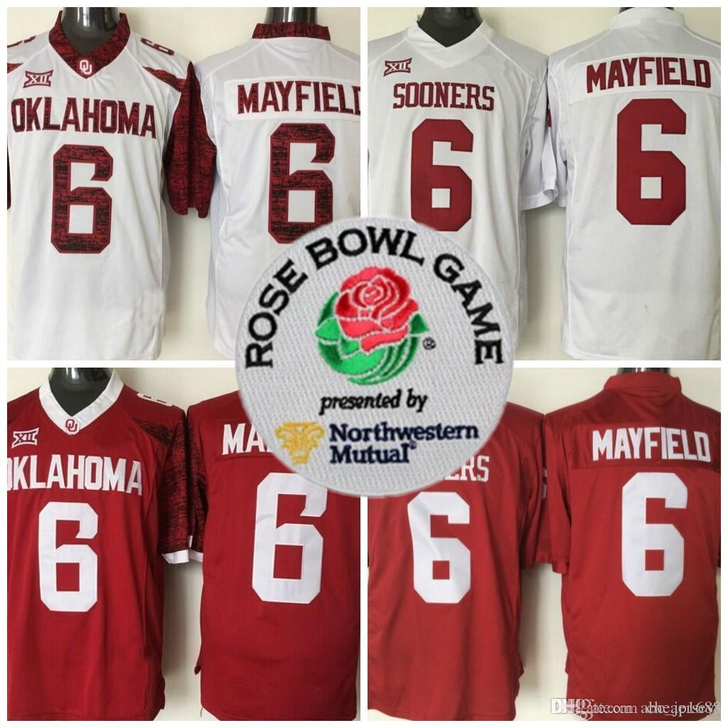 promo code 1a243 1ebfd Mens 2018 NCAA Heisman Rose Bowl Patch Jersey Oklahoma Sooners #6 Baker  Mayfield Red White Limited Stitched College Football Jerseys