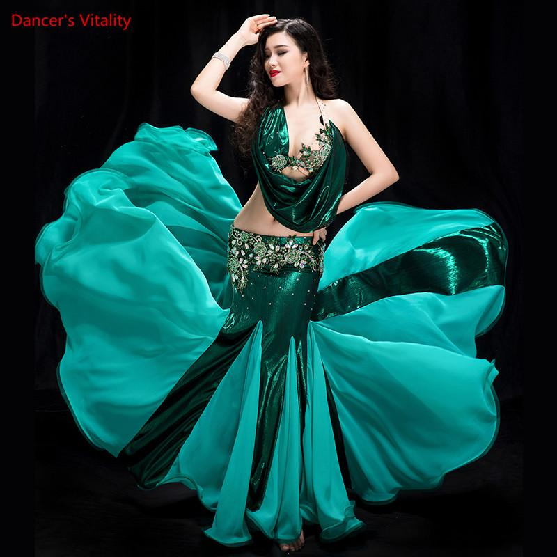 73d9beba3373 Women 2 piece of Performance of Belly Dancing Show in Costume Bra+fish Tail  skirt Dance Cothing Belly dance competition Dress