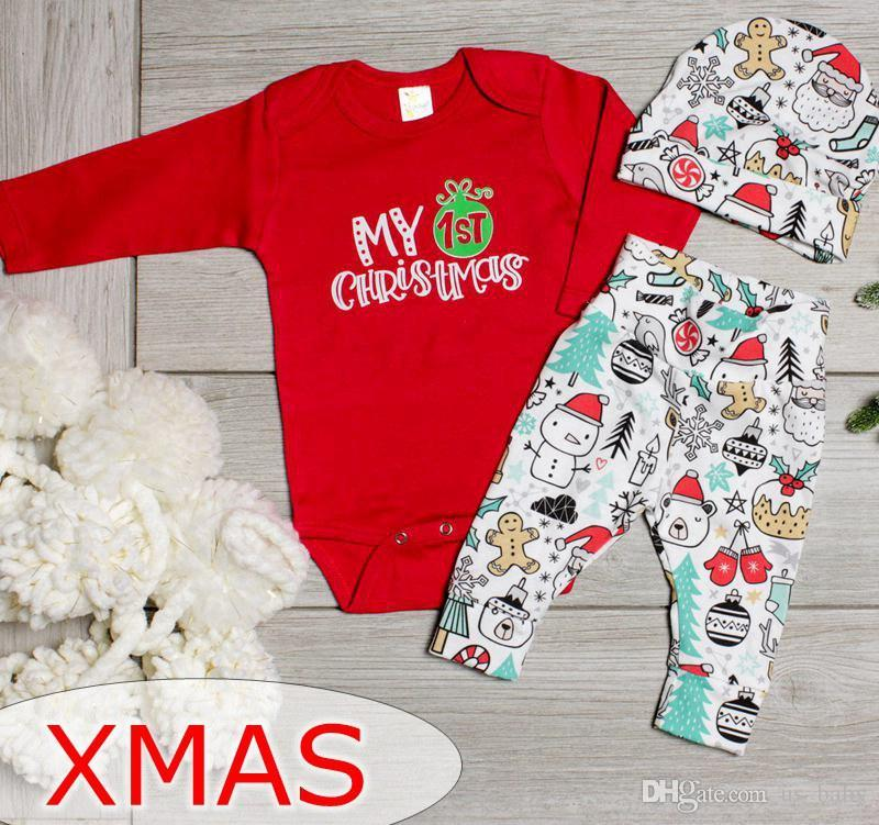 2018 my first christmas baby cotton outfit kids long sleeve red rompers infant snowman santa full print pants set from us_baby 604 dhgatecom