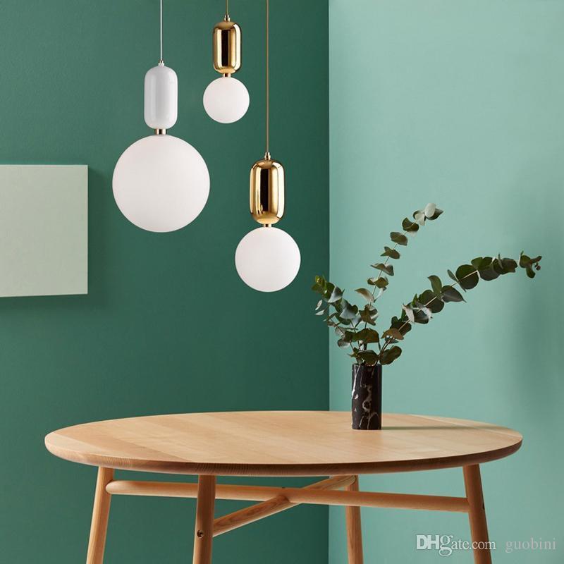 Nordic Style Glass Ball Pendant Light Single Head Glass Chandelier ...