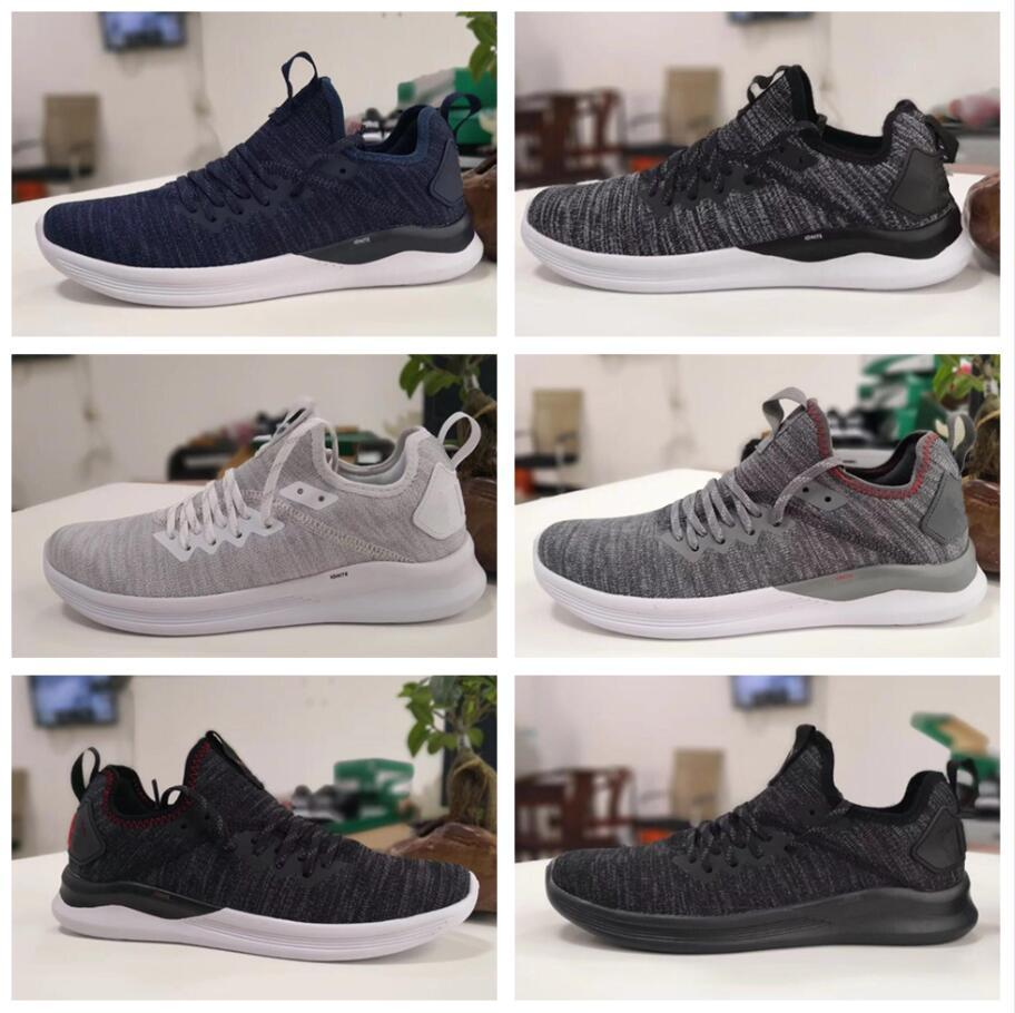 on sale 08c2f 550c5 Cheap IGNITE Flash evoKNIT Running Shoes Triple Black White Blue Red Men  Sneakers Fashion Lightweight Breathable mens sports Shoe