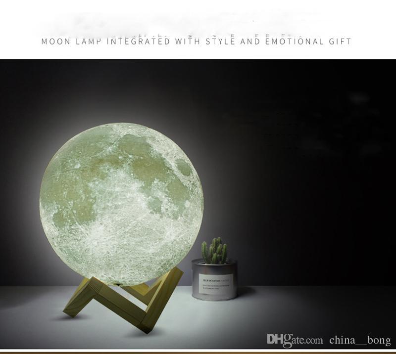 Luna 3D LED luz de la luna Moonlight lámpara de escritorio USB recargable 3D moon lighs colores claros para la decoración del hogar regalos de fiesta