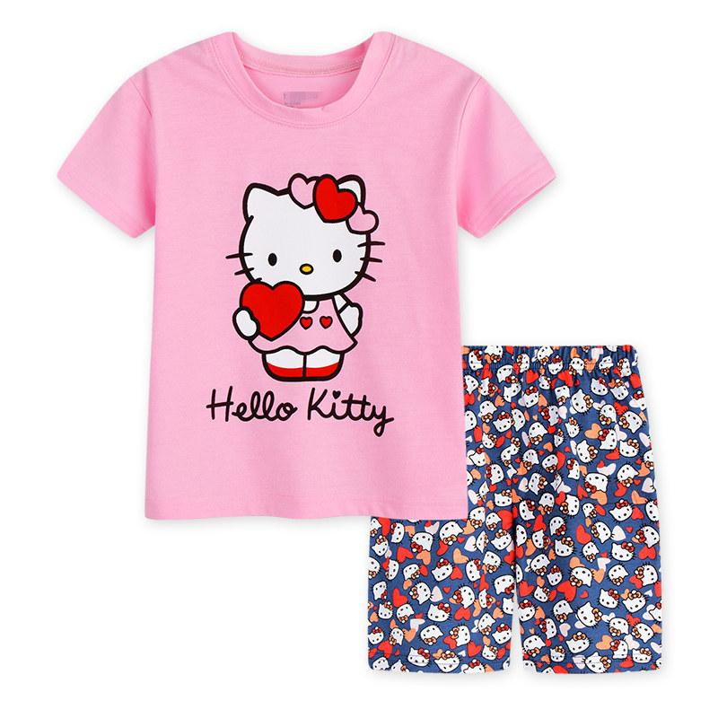 0ed0ba2dd Children's sets Cat Hello Kitty Girs T shirt Short Pants 2017 New Cartoon  Cotton Animal Hello Kitty Summer Pajamas For Girls