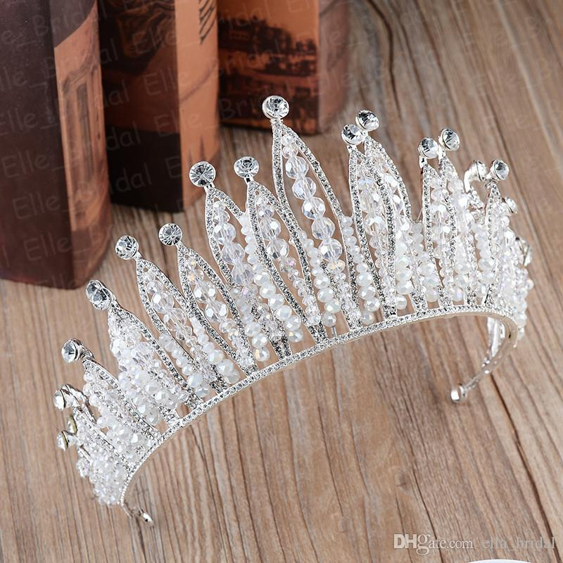 Hottest Stylish Princess Bridal Accessories Pearl Crown Crystal Tiara Bridal Jewelry Wedding Accessories High Quality Headpieces Real Photos