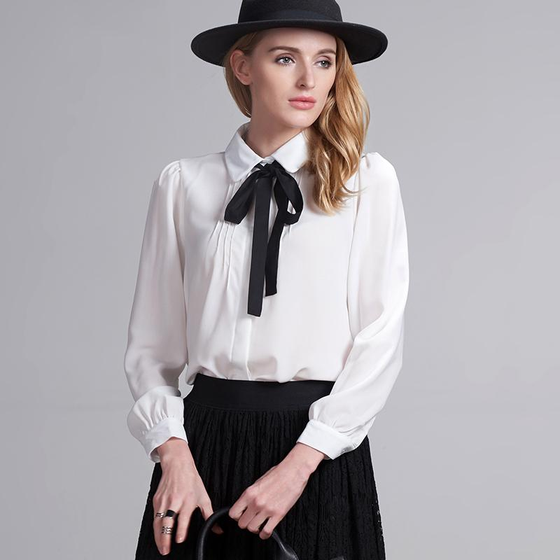 eac4ddb093d48 Fashion female elegant bow tie white blouses Chiffon peter pan collar  casual shirt Ladies tops school blouse Women Plus Size