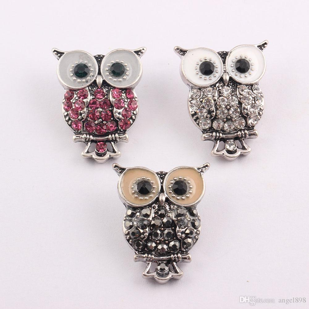 Noosa 18mm Snap Interchangeable Jewelry Owl Crystal Button Ginger Snap Jewelry