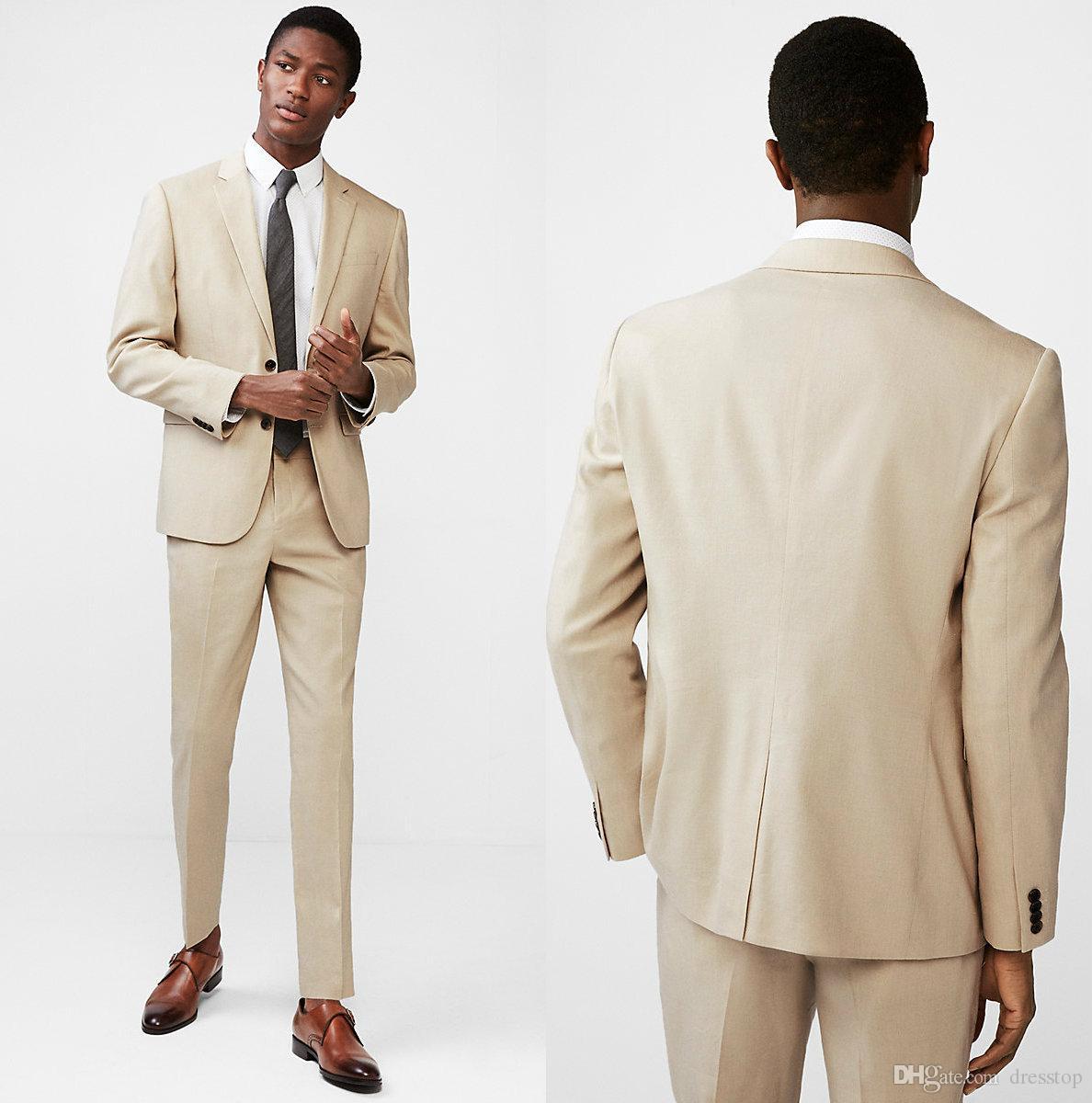 Compre 2018 Khaki Coat Pant Designs Beige Hombres Traje Prom Tuxedo Slim  Fit 2 Piezas Novio Trajes De Boda Para Hombres Custom Blazer Terno  Masuclino A ... 01a1b57e26c