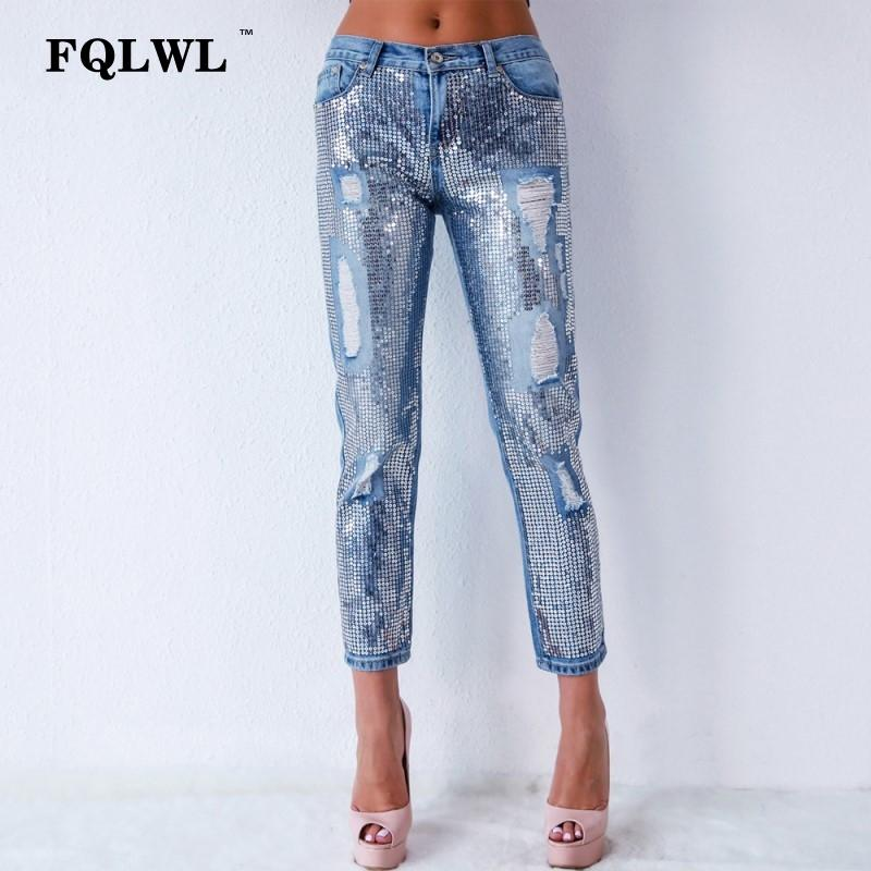 b7746b603ec 2019 FQLWL Sequin Hole Ripped Jeans For Women Trousers Plus Size Zipper Denim  Skinny Jeans Female Streetwear Ladies Blue 2018 From Peay