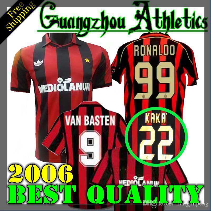 34c1a316 2019 90 91 Jersey Retro Shirts Home Gullit Ancelotti SOCCER JERSEY 1990  1991 Maldini Baresi Van Basten Football RONALDO KAKA Inzaghi 2006 07 From  ...