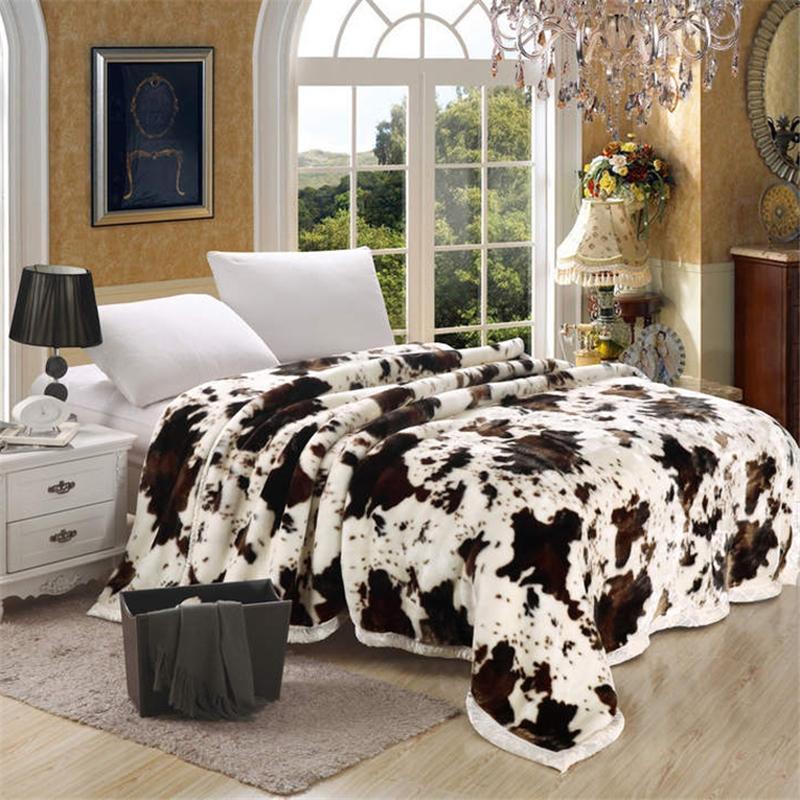 Acquista Super Soft Raschel Coperta Animal Cow Skin Flower Stampa ...