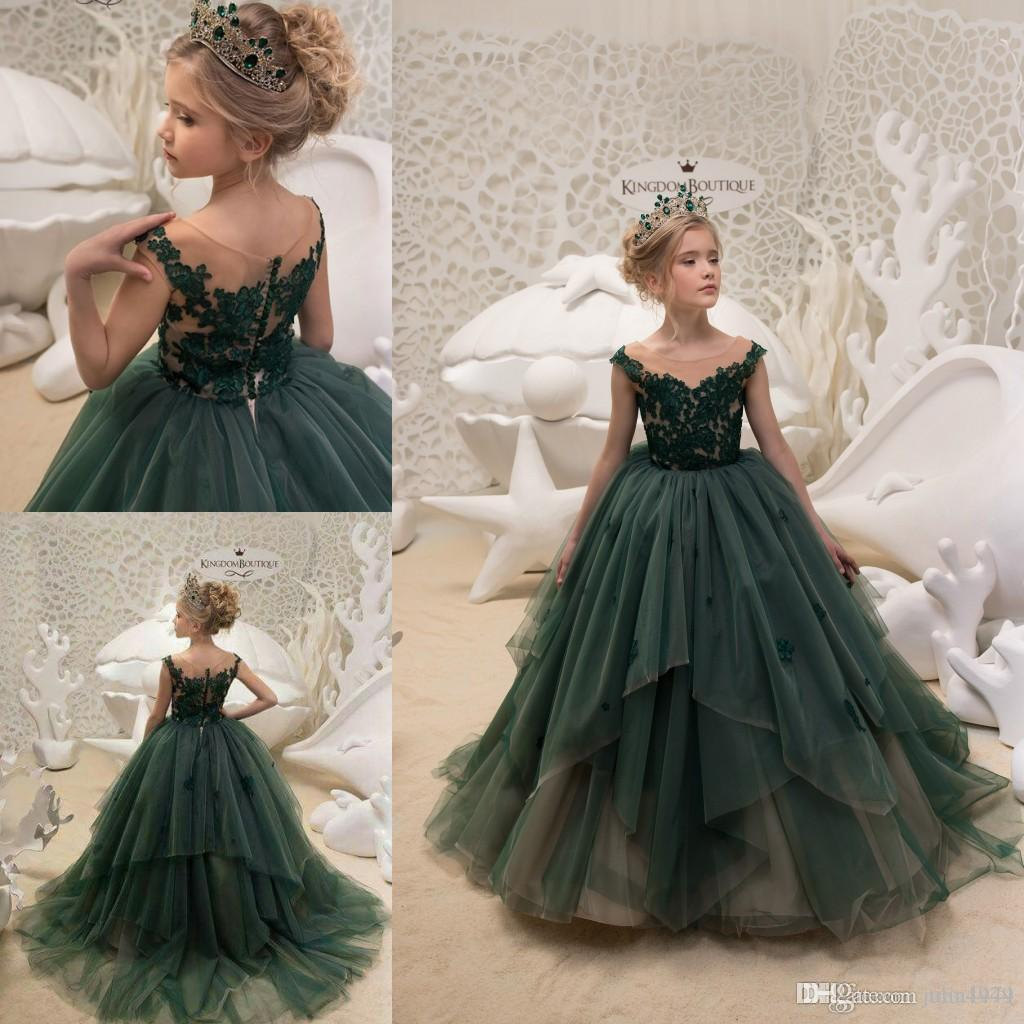 2018 Toddler Pageant Dresses Oliver Green Kids Prom Gowns Tulle Lace ...
