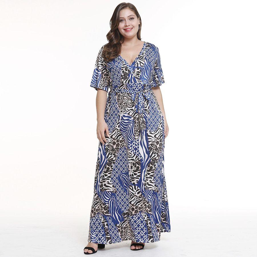 0fd0cb2abcb3 2019 New 2018 High Quality Fashion Women Summer Maxi Dress Leopard Print V  Neck Waist Slim Fit Dress Plus Size Short Sleeve Evening Party Dress From  ...