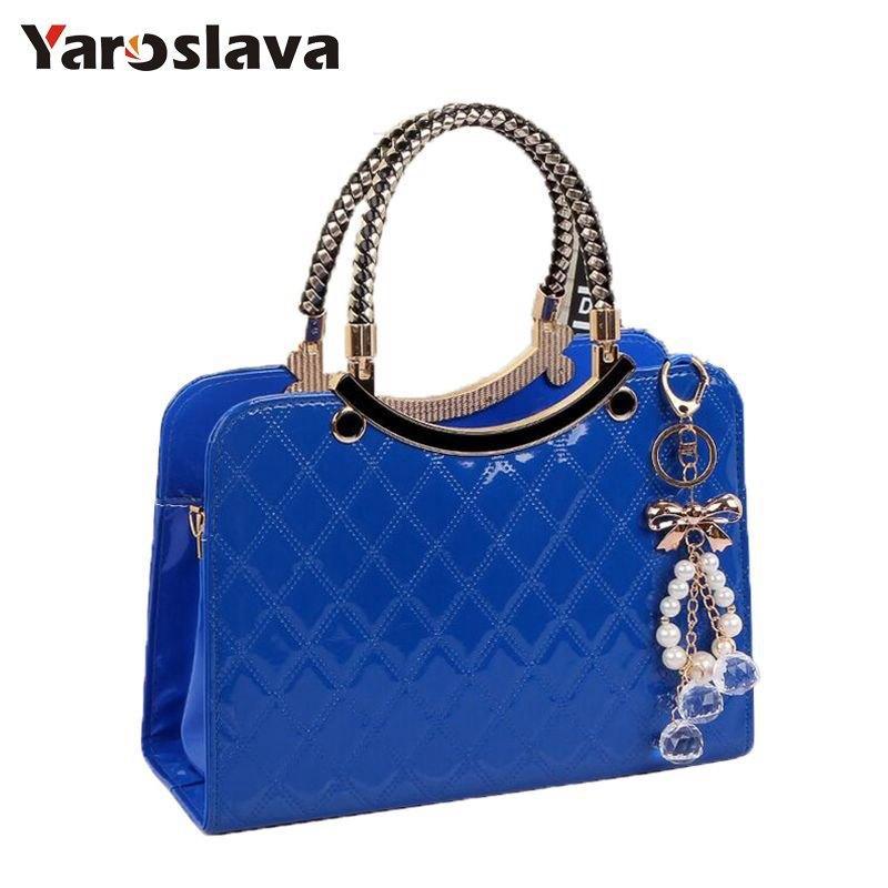 f0335137cf2 Brand bag cute tote 2018 New Fashion Designer Large PU Leather Tote  Shoulder Bag Handbag Ladies Messenger chain plaid LL117 Y18102604