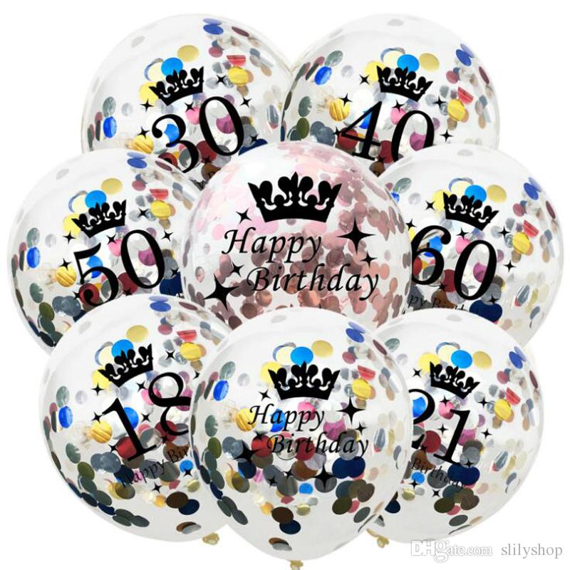 12inch Happy Birthday Party Confetti Balloon Inflatable Balloon Birthday Decorations 30 40 50 Anniversary Party Favors