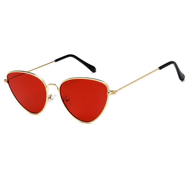 5d0a7f8ac Compre Cat Eye Óculos De Sol Das Mulheres Amarelo Lente Vermelha Óculos De  Sol Moda Luz Peso Óculos De Sol Para As Mulheres Do Vintage De Metal  Espetáculos ...