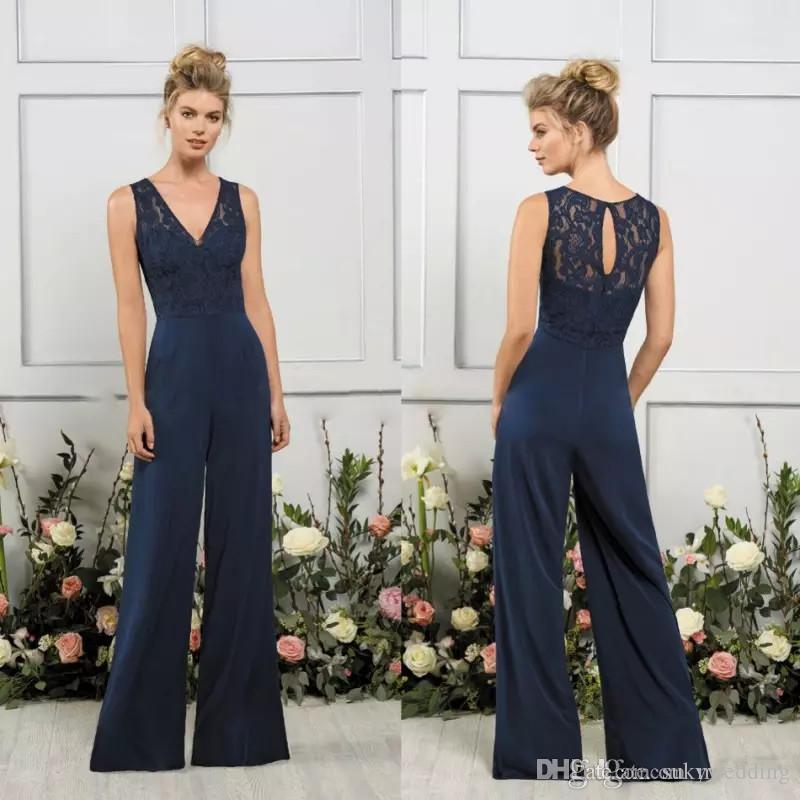 Dark Navy Jasmine Jumpsuits Bridesmaids Dresses V Neck ...