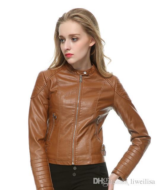 777fd8b42f923 Fashion Women Elegant Zipper Faux Leather Biker Jacket In Brown Black Slim Ladies  Coat Casual Brand Motorcycle Leather Coat Jacket Styles Womens Leather ...