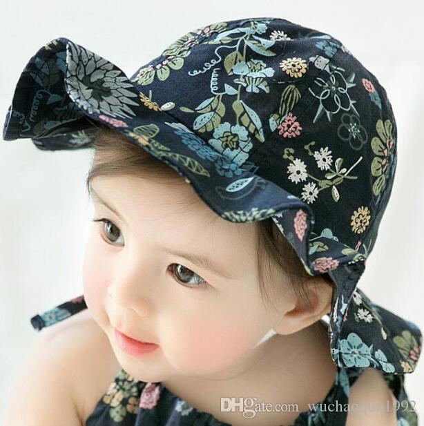 2018 Summer Fashion Girls Hats floral Infant Summer Hats princess Girls  Bucket Hat Cotton Sun Hat baby Caps Flower Baby Girls Caps