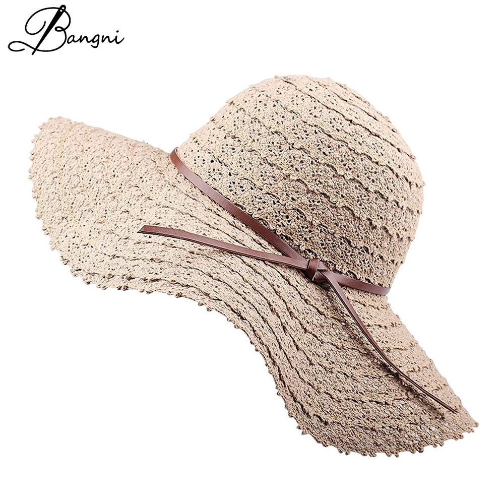 189c2d5b21c New Summer Beach Sun Hats For Women Wide Larger Brim Foldable Floppy Travel  Packable Straw Sun Cap Panama Hat Chapeau UPF 50+ Sun Hats Cheap Sun Hats  New ...